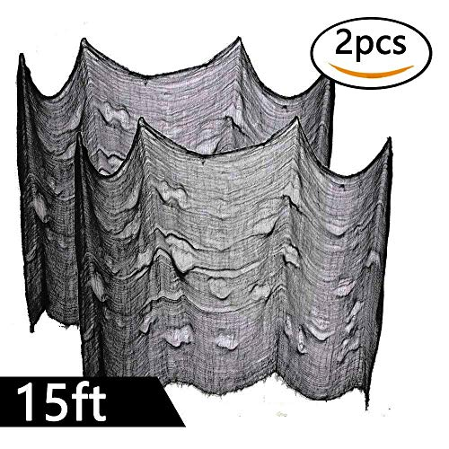 Powerful 2PCS Super Size in Halloween Creepy Gray Black Purple White Cloth for Houese and Outdoor Party Supplies & Decorations (2 X 5yd(15ft) X 80 in, Black)