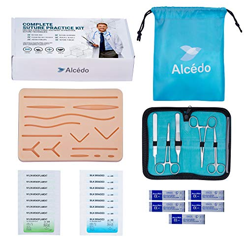 - Suture Practice Kit for Medical Students by Alcedo | Include Durable Large Suturing Pad with Pre-Cut Wounds, Tools Kit, and Suture Threads (28 Pieces) | Perfect for Practice, Demonstration, Teaching