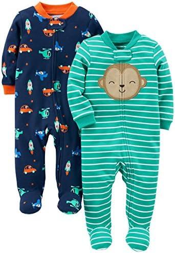Carter's Simple Joys paquete de 2 enteritos estilo sleep and play con pies, de algodón para niño