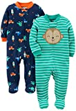 Simple Joys by Carter's Boys' 2-Pack Cotton Footed Sleep and Play, Monkey/Vehicles, 3-6 Months