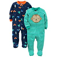 Simple Joys by Carter's Boys' 2-Pack Cotton Footed Sleep and Play, Monkey/Veh...