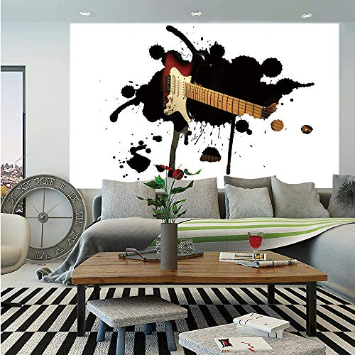 SoSung Popstar Party Huge Photo Wall Mural,Electric Guitar Fretboard on Black Grungy Color Splashes Art,Self-Adhesive Large Wallpaper for Home Decor 108x152 inches,Black Light Brown Cream