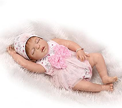 "22/"" Lifelike Reborn Girls Dolls Full Silicone Vinyl Handmade Waterproof Baby"