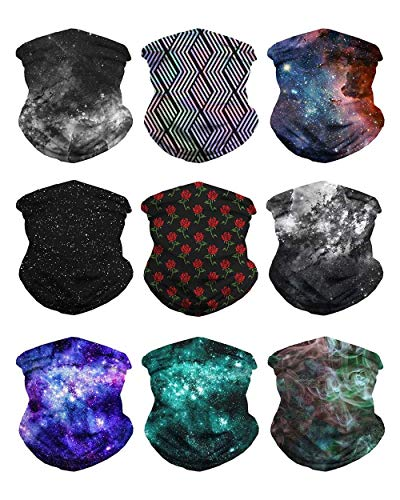 iHeartRaves Nocturnal Galaxy Seamless Face Mask Bandanas (9 Pack)