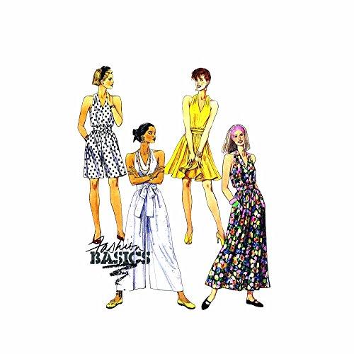 1990s Misses Halter Dress Split Skirt Dress McCalls 6004 Sewing Pattern Size 6-8- 10