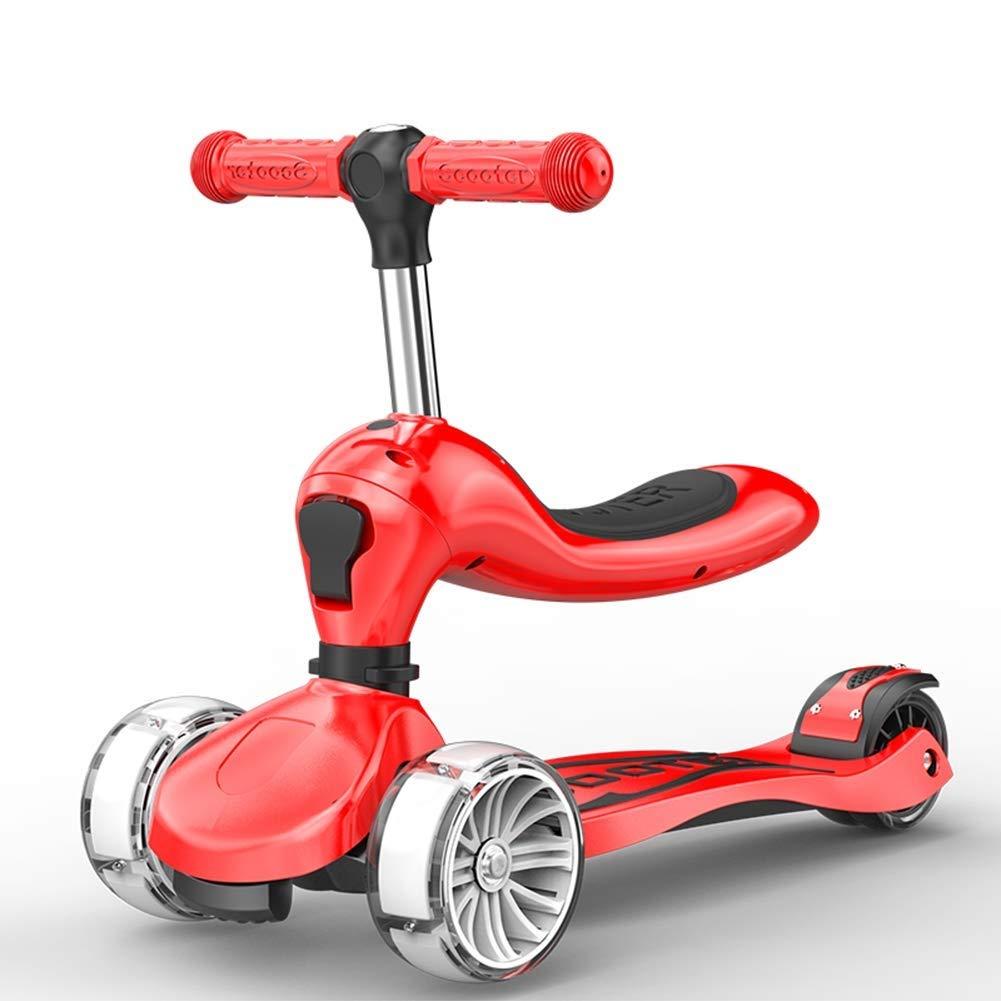 日本限定 スクーターを蹴る子供たち 折りたたみスクーター、ウォーカーサーフィンカー(18歳) (色 : : 黄) (色 赤 B07R3KXL6X 赤 赤, 常盤堂雷おこし本舗:5a8512fb --- 4x4.lt