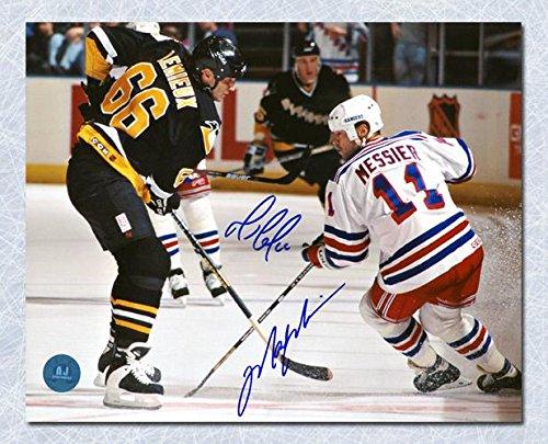 Signed Mark Messier Photograph - Mario Lemieux & Penguins vs legends 16x20 - Autographed NHL (Mark Messier Autographed Photo)