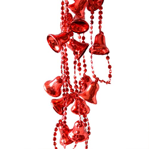 oocc Christmas Bells Plastic Pearls Beads String Garland for Christmas, Valentine,New Year, Birthday, Exhibition,Wedding, Baby Shower,Holiday Party DIY Craft Home Decoration, 106 Inch (Red) ()