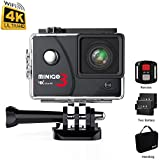 MINIGO 4K action camera 16MP with waterproof case work underwater up to 100FT, 2.0 screen with Sony sensor, 2 Rechargeable batteries and More accessories for various different scenarios, Black