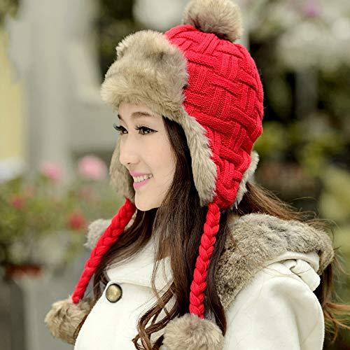 HappyShopDecoration Women Trapper Hats Winter Warm Faux Fox Fur Bomber Hat Russian Ushanka Beanies Wool Knit Earflaps