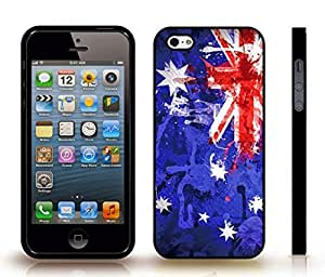 iStar Cases? iPhone 4 Case with Australia Flag Painted Splash Texture Design , Snap-on Cover, Hard Carrying Case (Black) by icecream design