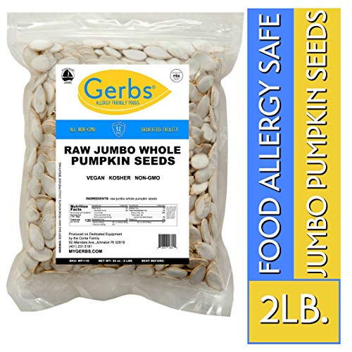 Jumbo Raw Whole Pumpkin Seeds, 2 LBS by Gerbs - Top 14 Food Allergy Free & Non GMO - Vegan, Keto Safe & Kosher - Extra Large Pepitas grown in -