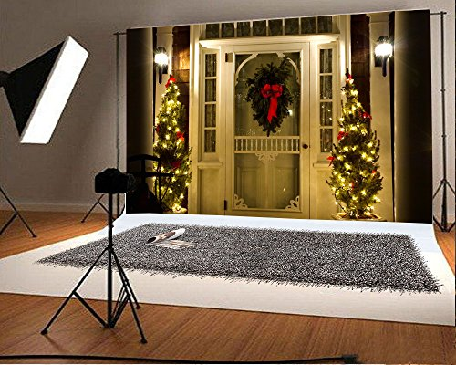 Wreath Oil Lamp (Laeacco 7x5FT Vinyl Backdrop Christmas Tree Decoration Photography Background Home Door Fir Wreath Lamp Scene Background Gifts Night Party Celebrate Photo Background Princess Girls Child Party)