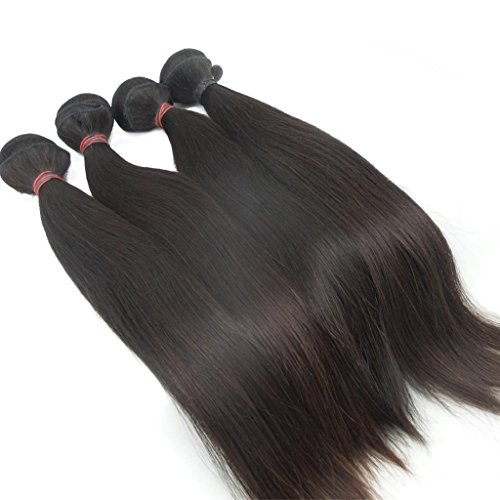Generic Girls 4Pcs/Lot Peruvian Weave Human Hair Extensions Straight Hair Size:24Inch*4