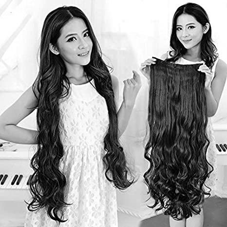 Artifice Clips Based Curly And Wavy Synthetic Fibre Hair Extension, Natural Black, 26.5-Inch