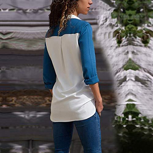 Shirt Chemisier Chemise V Top Ray C Chic Manches Blouse Col Bleu Longues Femme fanbufan Xw4Hqx