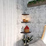 OROPY Wall Mount Solid Wood Floating Corner Shelves Set of 3, Rustic Wall Storage Display Shelf for Bedroom, Living Room, Kitchen, Office