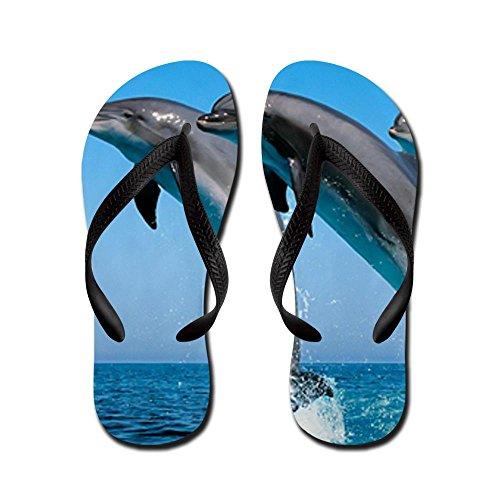 Royal Lion Kid's Dolphins Dancing Black Rubber Flip Flops Sandals 1-4