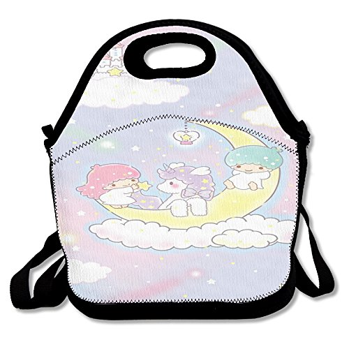 Unicorn Horse Fashionable Insulated Heating Polyester Shoulder Strap Women Men Kids Girls Black Lunch Bag Tote Lunch Box For School Office