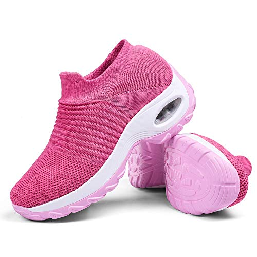 Women's Walking Shoes Sock Sneakers - Mesh Slip On Air Cushion Lady Girls Modern Jazz Dance Easy Shoes Platform Loafers Pink,8