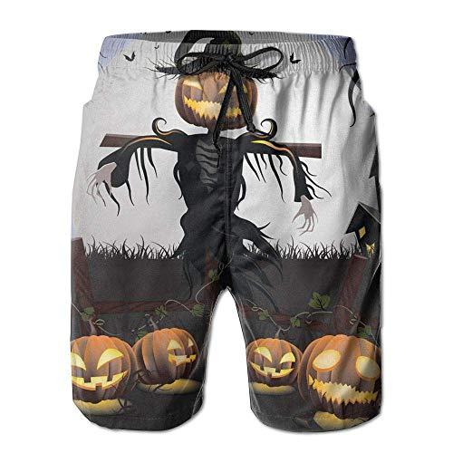 Mens Beach Shorts, Halloween Scarecrow Miami Cute Shorts for Men Boys, Outdoor Short Pants Beach Accessories, White -