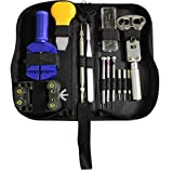 Portable 30pc Watch Repair Tool Kit -Link Remover, Wristband Adjuster, Battery Change, Opener, Screwdrivers in Zip Carry Case by Kurtzy TM