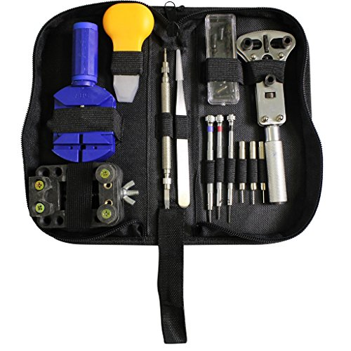 [Portable 30pc Watch Repair Tool Kit -Link Remover, Wristband Adjuster, Battery Change, Opener, Screwdrivers in Zip Carry Case by Kurtzy] (Link Deluxe Adult Kit)