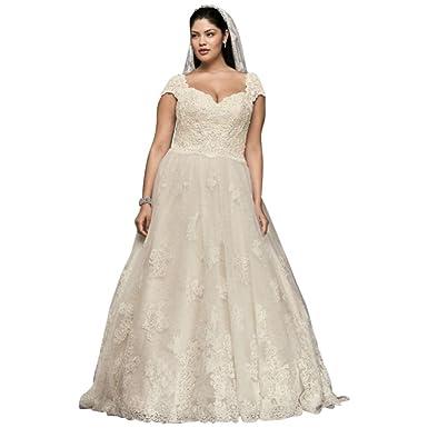 Davids Bridal Extra Length Cap Sleeve Plus Size Wedding Dress With