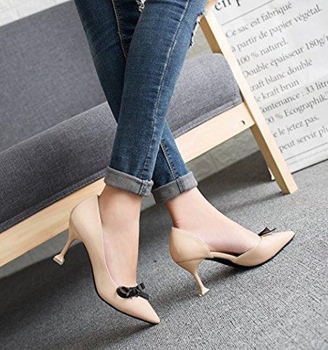 Archetto Da Lato le Ajunr Il Moda fine Quaranta Scarpe 40 gatto sexy scarpe albicocca Donna con Con punta Sandali Alla vuoto 7cm tacchi Z5O5waq