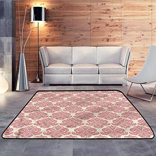 Camping Rugs for Outside,Dusty Rose,Antique Damask MotifsW 78.7