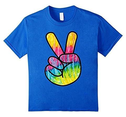 Kids Tie Dye Psychedelic Peace Sign T-Shirt 4 Royal Blue - Boys Blue Tie Dye