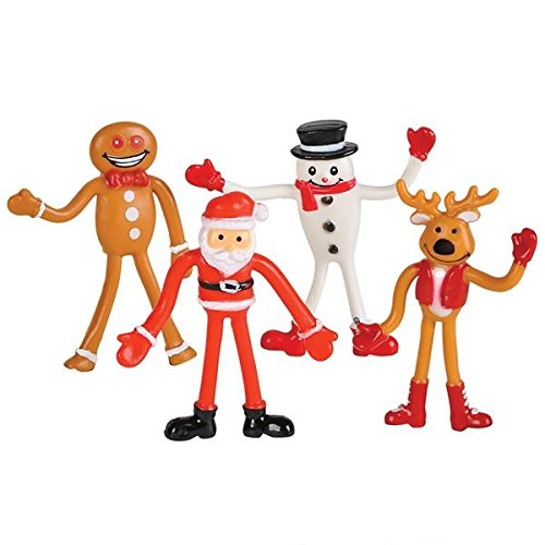 Neliblu Fun Bendable Toys Christmas Holiday Figures 1 Dozen By Christmas Stocking Stuffers, Party Favors ()