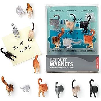 6 Kikkerland Cat Animal Butt Magnets Fridge Strong Magnetic Surface Gift Novelty