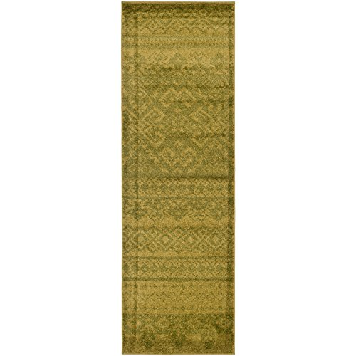 Safavieh Adirondack Collection ADR107D Green and Dark Green Rustic Bohemian Runner (2'6
