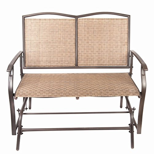 Naturefun Patio Swing Glider Bench Chair, Garden Glider Rocking Loveseat Chair, All Weatherproof, Brown