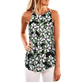 iTLOTL Women Summer Print Sleeveless Shirt Blouse Casual Tank Tops T-Shirt