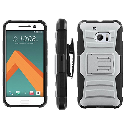 [ArmorXtreme] Case for HTC One M10 / HTC 10 Black/Black [Combat Armor Heavy Duty Case with Holster] - [Glacier Gray]