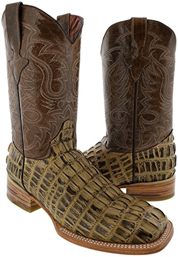 Team West - Men's Rustic Sand Crocodile Tail Print Leather Cowboy Boots Square Toe 10 D(M) US