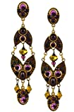 Michal Golan 4 Part Foxhead Earrings with Glass Cabochons and Crystals