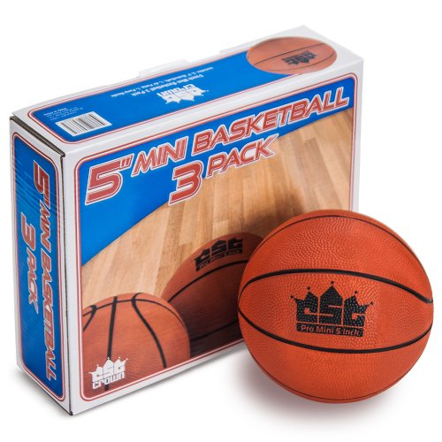 Set of 3 Crown Sporting Goods Mini Basketball with Needle and Inflation Pump 5-Inch Brybelly Holdings SBAS-101*3.201.202