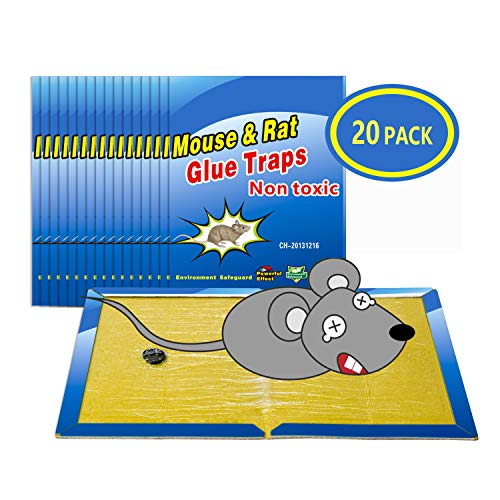 "Wemk Mouse Trap, 20 Pack Mouse Glue Traps Rat Trap Mouse Glue Boards Mouse Super Sticky Board, Non-Toxic, Large Size 8""x12"""