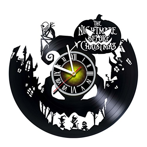 Toffy Workshop Nightmare Before Christmas Vinyl Record Wall Clock – Exciting guestroom Decor idea for Children, Adults, Men and Women – Jack and Sally – Horror Decorations Unique Art Design – Poster