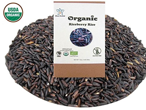 USDA Certified Organic Riceberry Rice from Thailand Black Rice Berry Healthy Natural Purple Long Grain 3 LB (48 oz) by Blue Orchid
