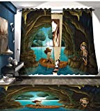 Cheap Explore Thermal Insulating Blackout Curtain Girl and Boy in a Cave with River and Rowboat Boy Scouts Cartoon Style Illustration Patterned Drape For Glass Door Multicolor