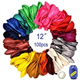 100 Balloons for Parties Assorted Color Rainbow Colorful Party Balloons Premium Balloon Pack Bulk Thick Latex Balloons 12 Inch Filled with Air Helium Water: more info