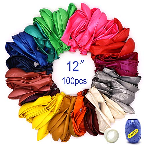 100 Balloons for Parties Assorted Color Rainbow Colorful Party Balloons