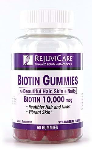 Rejuvicare Biotin Gummies 10,000mcg for Beautiful Hair, Skin and Nails, 30 servings