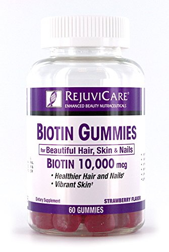 Rejuvicare Biotin Gummies 10,000mcg for Beautiful Hair, Skin and Nails, 30 servings (Recommended Intake Of Biotin For Hair Growth)