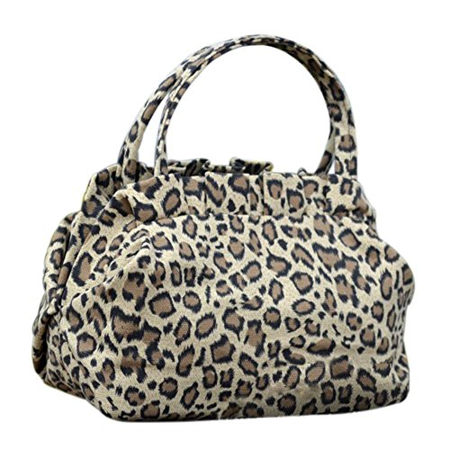 Vin beauty Leopardo de las nuevas mujeres de señora Floral impresión de la lona de la cremallera del Bowknot Bolsos Bols Leopard