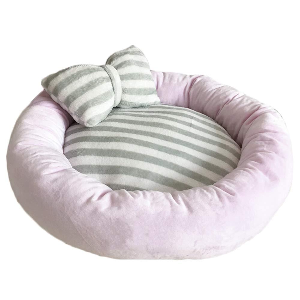 Pink 4514cmPet nest, suede, PP cotton, mattress, suitable for puppies, kittens, etc. (color   PINK, Size   45  14cm)